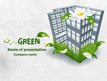 Nature & Environment: Plantilla de PowerPoint - edificio verde #07853