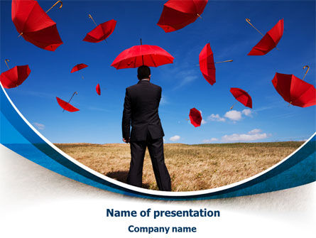 Consulting: Falling Umbrellas PowerPoint Template #07886