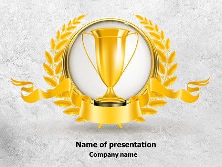 Golden Cup PowerPoint Template, 07905, Careers/Industry — PoweredTemplate.com
