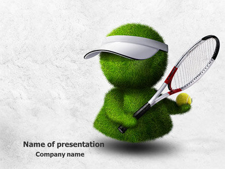 Sports: 3D Tennis Player PowerPoint Template #07911