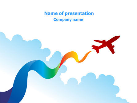 Airplane Illustration PowerPoint Template, 07917, Cars and Transportation — PoweredTemplate.com