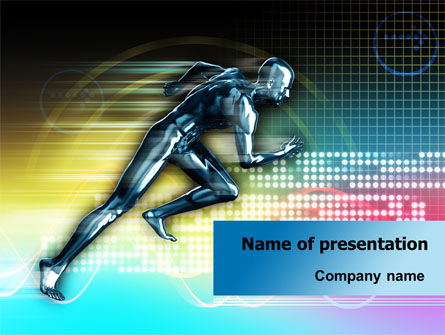 Sports: Running Iron Man PowerPoint Template #07928