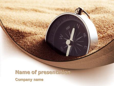 Compass in Sand PowerPoint Template