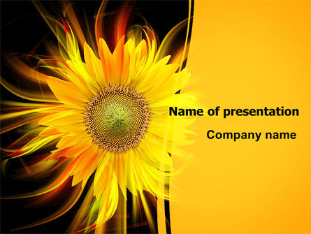 Art & Entertainment: Flaming Sunflower PowerPoint Template #07948