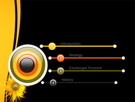 Flaming Sunflower PowerPoint Template, Slide 3, 07948, Art & Entertainment — PoweredTemplate.com