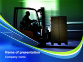 Utilities/Industrial: Loader In The Warehouse PowerPoint Template #07952