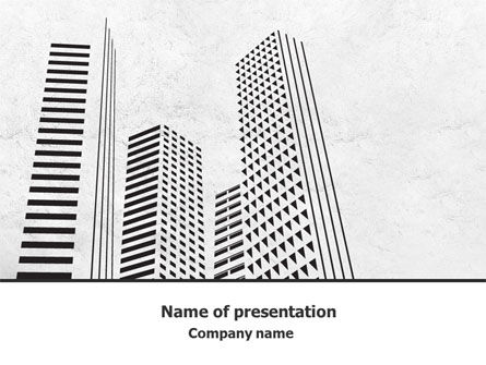 Gray Skyscrapers Free PowerPoint Template, 07974, Construction — PoweredTemplate.com