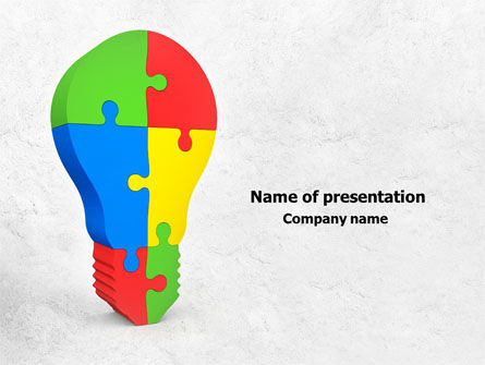 Jigsaw Bulb PowerPoint Template, 07975, Consulting — PoweredTemplate.com