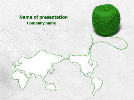 Global: Tangle Of Green Yarn Around The World PowerPoint Template #07981