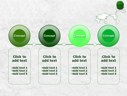 Tangle Of Green Yarn Around The World PowerPoint Template Slide 5