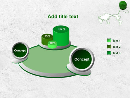 Tangle Of Green Yarn Around The World PowerPoint Template Slide 6