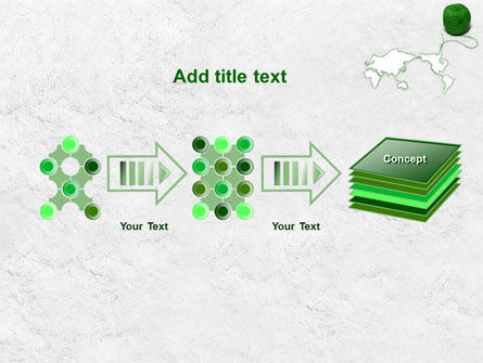 Tangle Of Green Yarn Around The World PowerPoint Template Slide 9