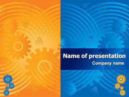Geared Yellow Blue PowerPoint Template, 07986, Business — PoweredTemplate.com