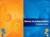 Business: Geared Geel Blauw PowerPoint Template #07986