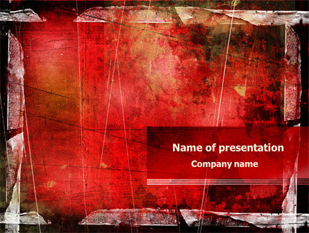 Abstract/Textures: Red Scratched Background PowerPoint Template #07991
