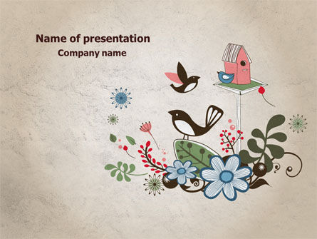 Bird Theme PowerPoint Template, 08004, Nature & Environment — PoweredTemplate.com