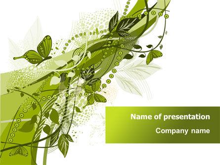 Nature & Environment: グリーンバタフライテーマ - PowerPointテンプレート #08009
