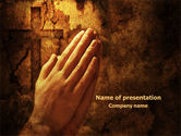 Religious/Spiritual: Prayer Hands PowerPoint Template #08023
