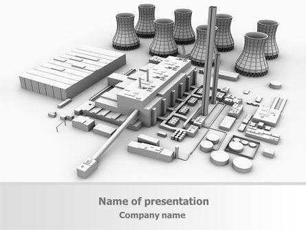 Power Station 3D Model PowerPoint Template, 08029, Utilities/Industrial — PoweredTemplate.com