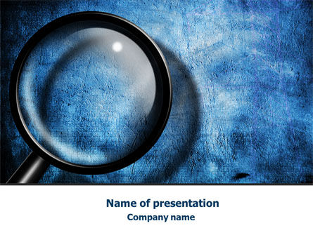 Consulting: Magnifier On A Blue Parchment PowerPoint Template #08041
