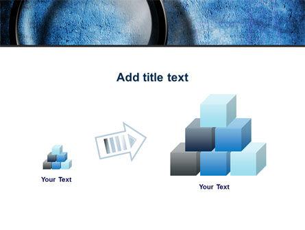 Magnifier On A Blue Parchment PowerPoint Template Slide 13