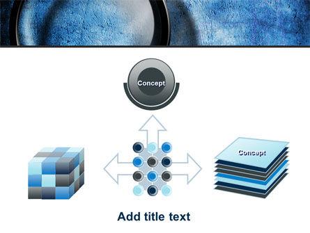 Magnifier On A Blue Parchment PowerPoint Template Slide 19