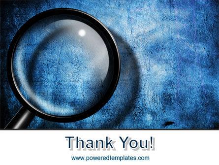 Magnifier On A Blue Parchment PowerPoint Template Slide 20