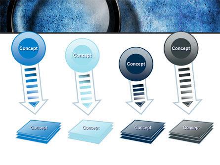 Magnifier On A Blue Parchment PowerPoint Template Slide 8
