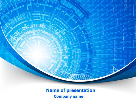 Blue Fusion Reactor PowerPoint Template, 08050, Abstract/Textures — PoweredTemplate.com