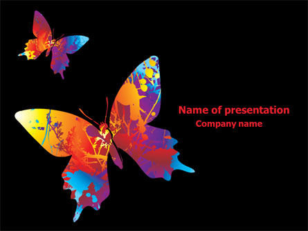 Color Butterfly PowerPoint Template, 08054, Nature & Environment — PoweredTemplate.com