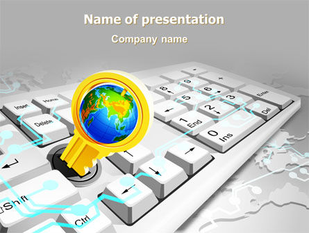 Computers: Keyboard Key PowerPoint Template #08072