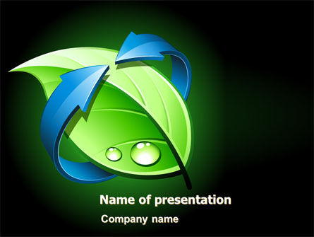 Green Recycling PowerPoint Template, 08104, Nature & Environment — PoweredTemplate.com