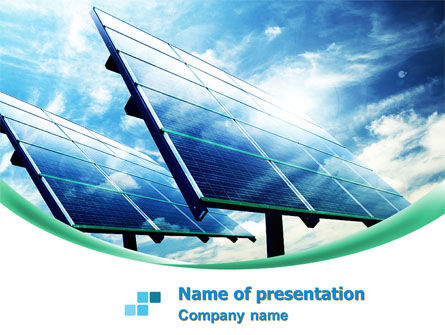 Technology and Science: Solar Panels In Blue Colors PowerPoint Template #08112
