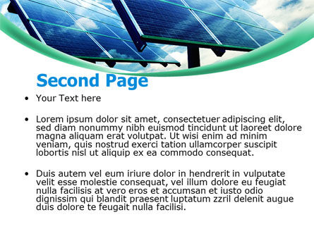 Solar Panels In Blue Colors PowerPoint Template, Slide 2, 08112, Technology and Science — PoweredTemplate.com