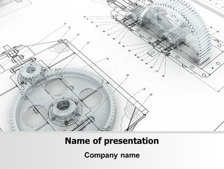 Engineering Drawing PowerPoint Template, 08114, Construction — PoweredTemplate.com