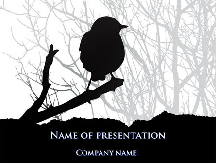 Bird on Branch PowerPoint Template, 08131, Animals and Pets — PoweredTemplate.com