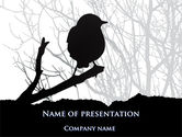 Animals and Pets: Bird on Branch PowerPoint Template #08131