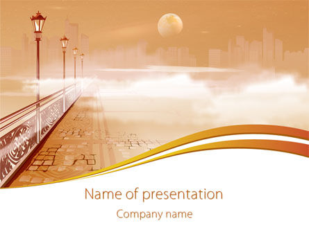 Art & Entertainment: Moonlit Quay PowerPoint Template #08138