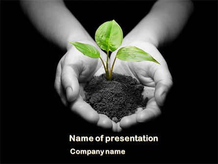Agriculture: Sprout In Hands PowerPoint Template #08162