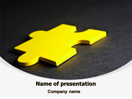 Yellow Jigsaw On A Dark Gray Surface Free PowerPoint Template, 08165, Consulting — PoweredTemplate.com