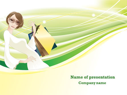 Girl Shopping PowerPoint Template, 08166, People — PoweredTemplate.com