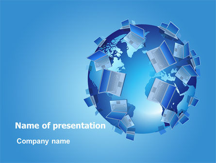 Laptop World PowerPoint Template, 08177, Computers — PoweredTemplate.com