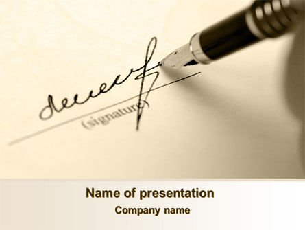 Signature In A Sepia PowerPoint Template