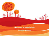 Nature & Environment: Orange Autumn Illustration PowerPoint Template #08186