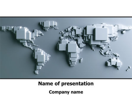 World Map 3D PowerPoint Template, 08201, Global — PoweredTemplate.com