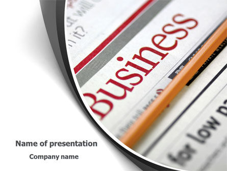 Business Newspaper PowerPoint Template, 08203, Business — PoweredTemplate.com