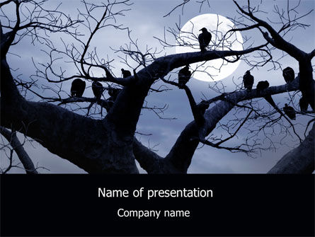 Nature & Environment: Moonlit Tree Free PowerPoint Template #08204
