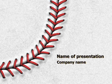 baseball stitching powerpoint template, backgrounds | 08205, Powerpoint templates