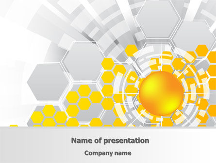 Technology and Science: Orange Network Theme PowerPoint Template #08206