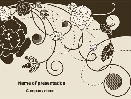 Holiday/Special Occasion: Brown Floral Ornament PowerPoint Template #08207